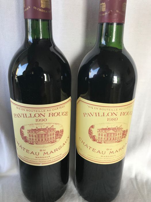 1989 & 1990 Pavillon Rouge du Chateau Margaux, 2nd wine Ch. Margaux  - Margaux - 2 Bottiglie (0,75 L)