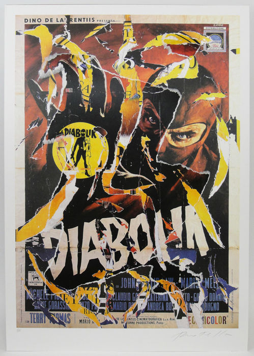 Mimmo Rotella - Diabolik - Decollage multiplo