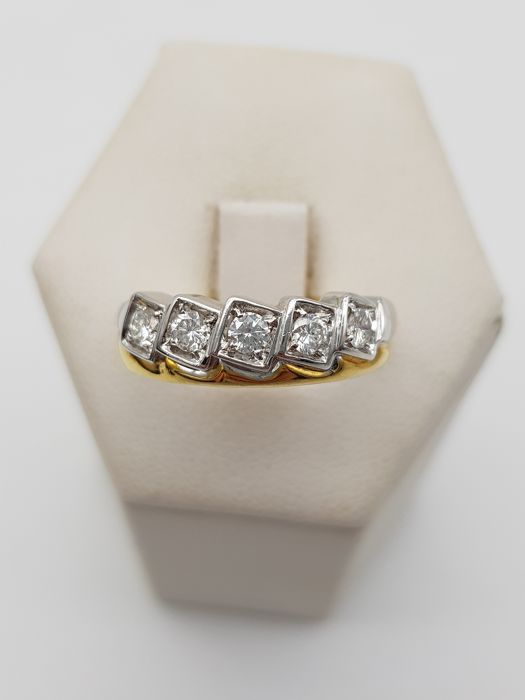 18 kt. White gold, Yellow gold - Ring - 0.75 ct Diamond