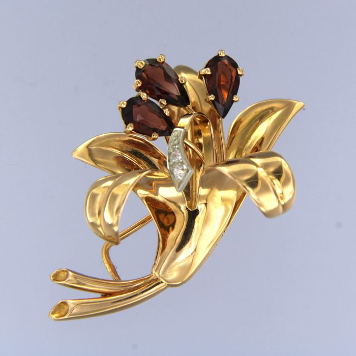 18 kraat Pink guld - Broche - 0.03 ct Diamant - Granat