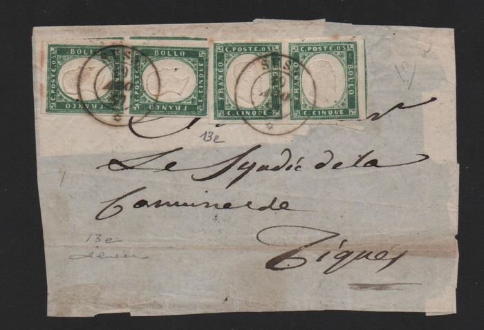 Sardinien 1857 - 5 cents yellowish emerald green, two pairs on letter front from Susa to Tignes - Sassone N. 13e