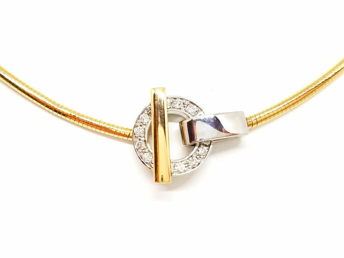 Guy Laroche - 18 quilates Bicolor, Oro amarillo, Oro blanco - Collar - 0.18 ct Diamante