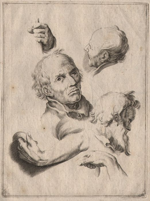 Abraham Bloemaert (1564-1651) - Study sheet with heads and hands