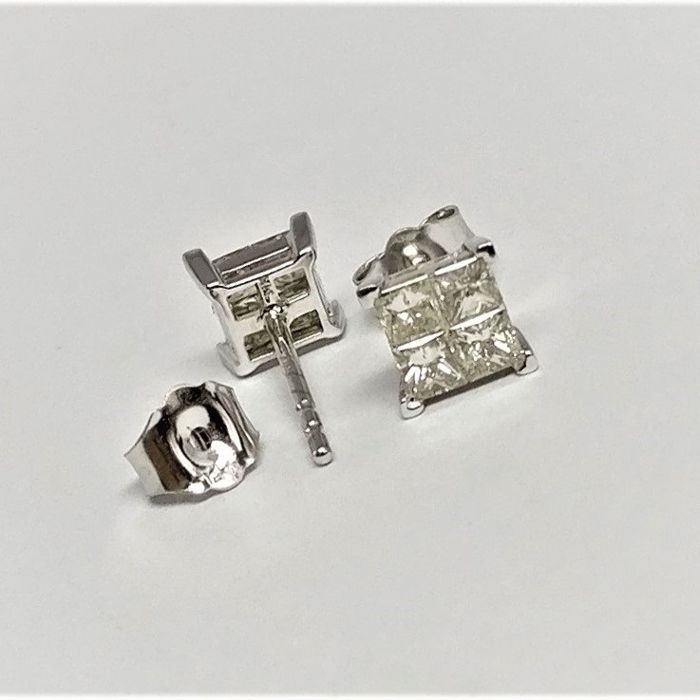 14 quilates Oro blanco - Pendientes - 0.60 ct Diamante