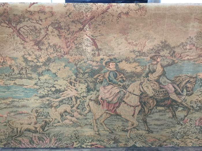 A machine woven tapestry fragment - fabric, probably wool