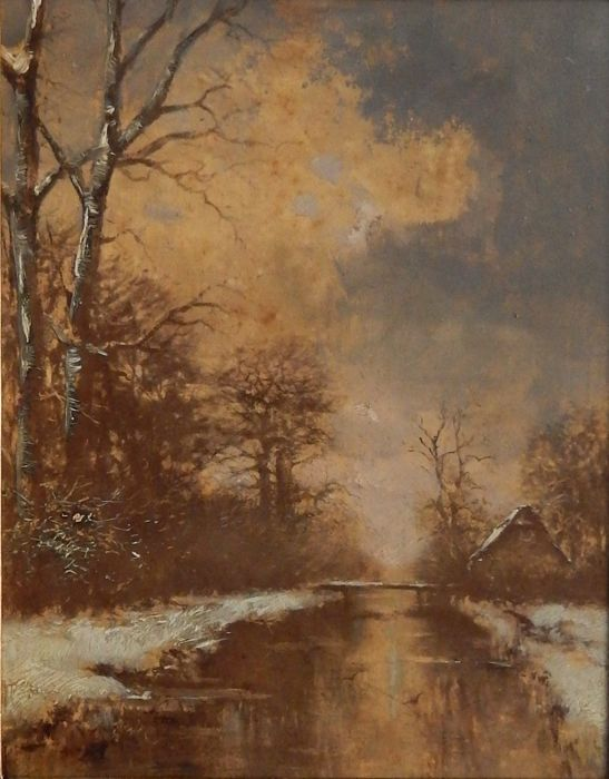 Dutch school - After Fredericus Jacobus van Rossum du Chattel (1856-1917)  - Winter evening
