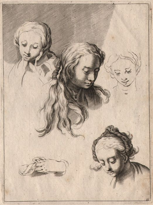Abraham Bloemaert (1564-1651) - Study sheet with female heads