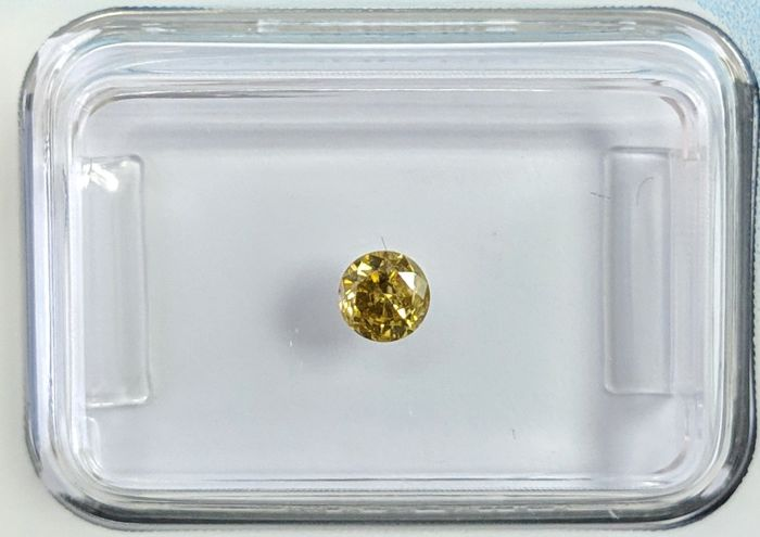 Diamond - 0.20 ct - Brilliant - fancy deep brownish yellow - I1, IGI Antwerp - No Reseve Price