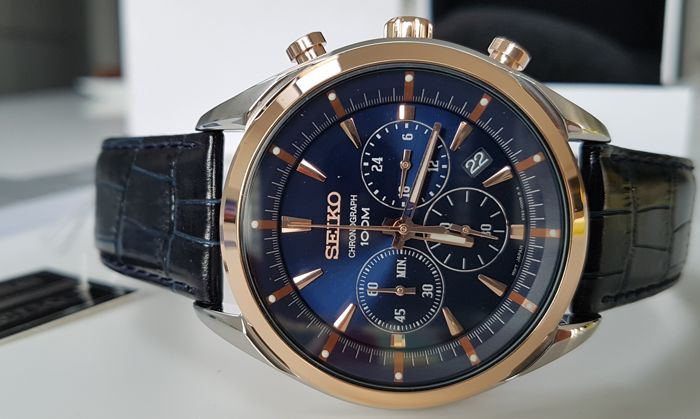 Seiko - Seiko luxury chrono sport with gold plated bezel - Uomo - 2011-presente