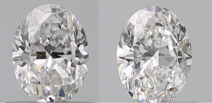 2 pcs Diamonds - 1.00 ct - Oval - E - VS1, VVS1