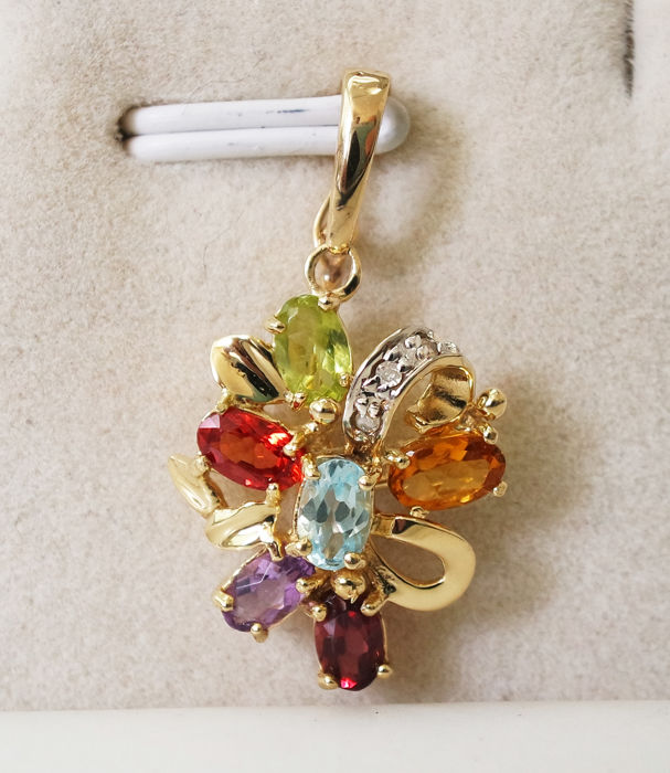 14 kt. Yellow gold - Pendant Topaz - Amethyst, Citrine, Diamond, Garnet, Peridot, Blue Topaz, Orange Sapphire