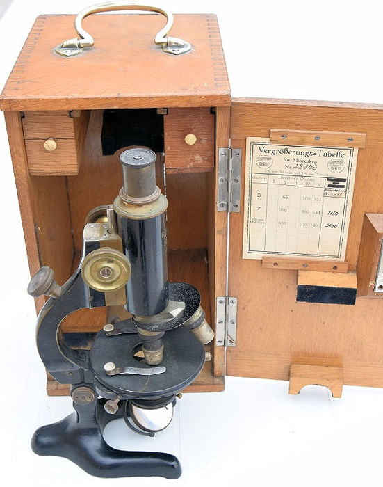 Monocular compound microscope, no.22143 - Brass - About 1915