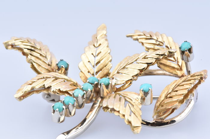 18 kt. Yellow gold - Brooch Turquoise