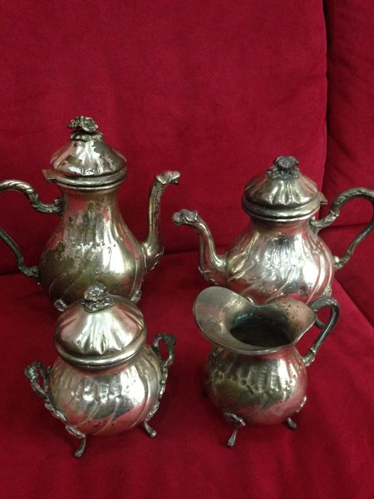Milk jug, Sugar pot, Teapot (4) - Silver plated