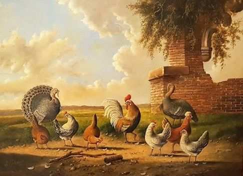 Albertus Verhoesen (1806-1881) - Poultry at the ruin