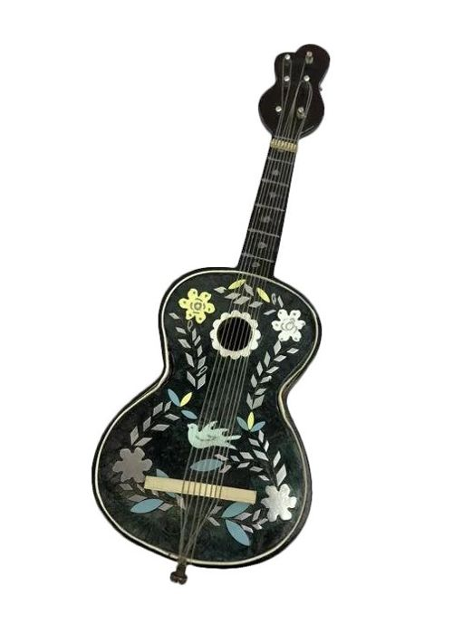 Miniature guitar with music box (rare) - Faux Tortoiseshell, Silver - Approx. 1920