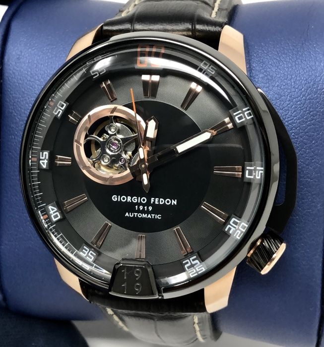 "Giorgio Fedon 1919  - Automatic Timeless III Rose Gold Black ""NO RESERVE PRICE"" - GFBA003 - Men - Brand New"