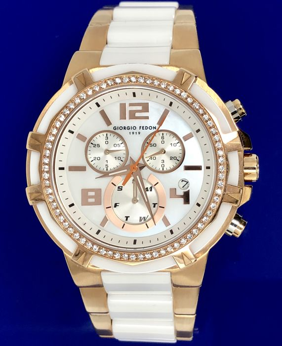 Giorgio Fedon - 'NO RESERVE PRICE' Ceramic Lady White Rose Gold Swarovski Crystals  - GFAM002 - Women - BRAND NEW