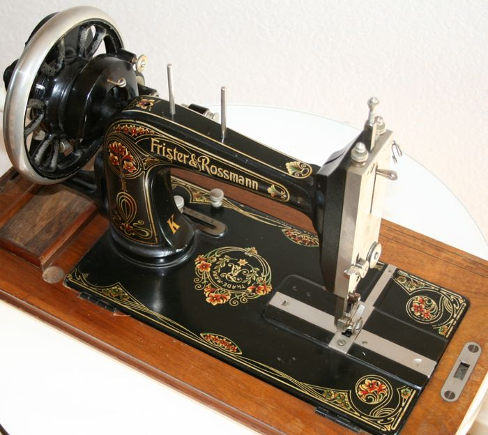 Used, Frister & Rossmann - Decorative hand sewing machine with dust cover - Iron (cast/wrought), for sale