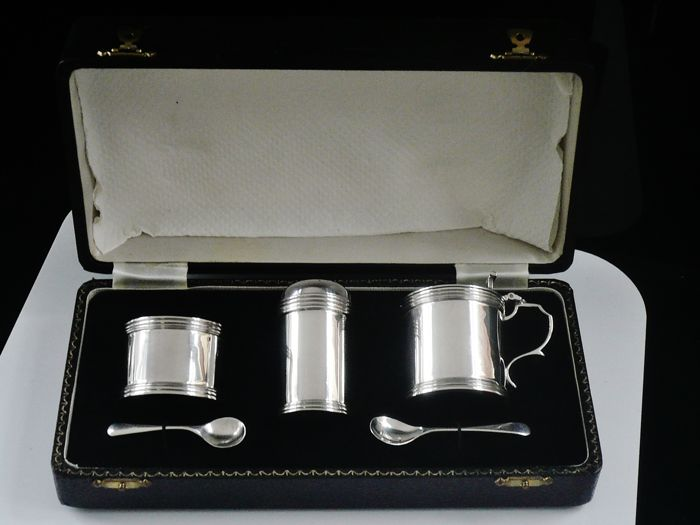 Immaculate Cased Condiment Set - .925 hopea - J B Chatterley & Sons Ltd - Yhdistynyt kuningaskunta - 1978
