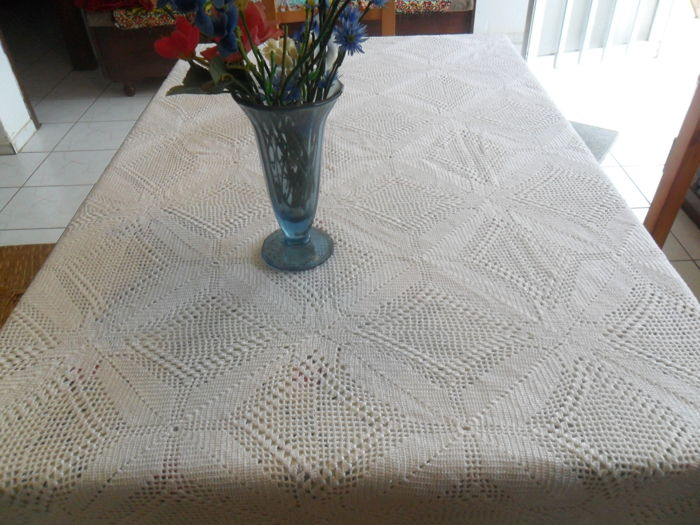 Hand knitted byzantin tablecloth - Wool Cotton