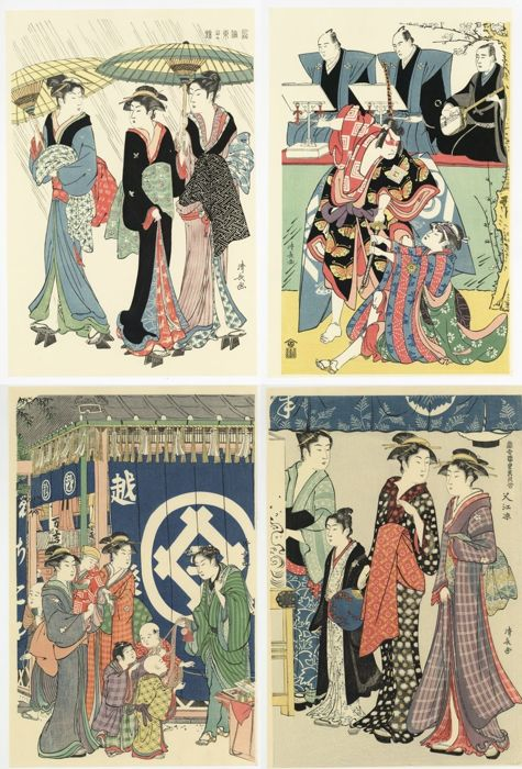Woodblock print (reprint) (4) - Torii Kiyonaga (1752-1815) - Actors and bijin - Late 20th century