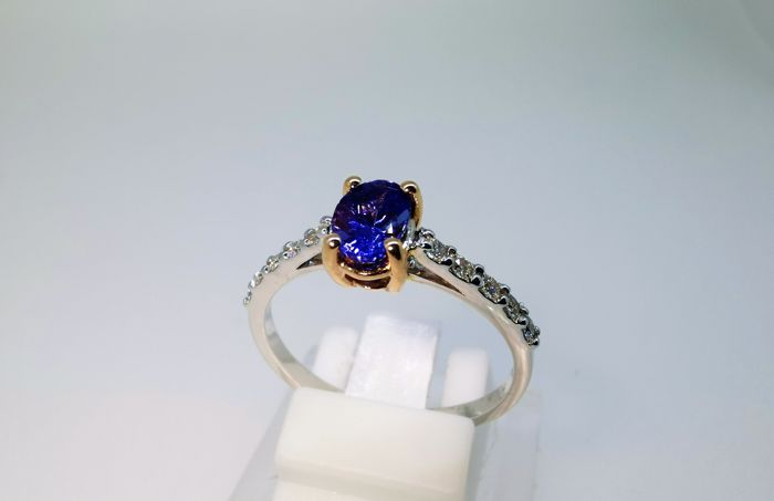 18 karaat Tweekleurig - Ring - 1.00 ct Tanzaniet - Diamant