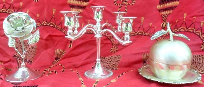 Baroque Table set, Candlestick + apple box,flower  - Silverplate