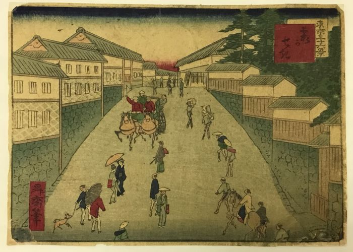 """Original woodblock print - Shosai Ikkei (act. 1860s-70s) - 'No. 27: Kasumi kaseki' 霞かせき - From the series """"Thirty-six Views of Tokyo"""" - about 1870"""