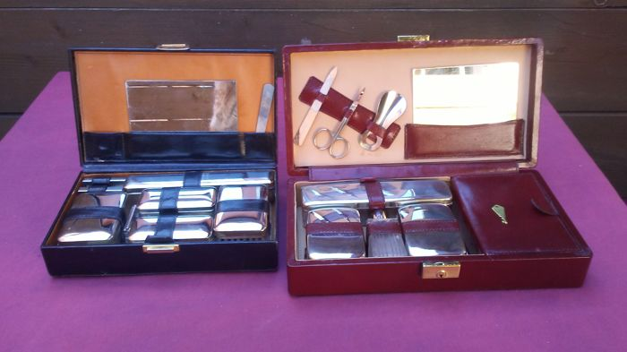 Two vintage men toilette sets in the own boxes (2) - Glass, Leather Curio Curio, used for sale