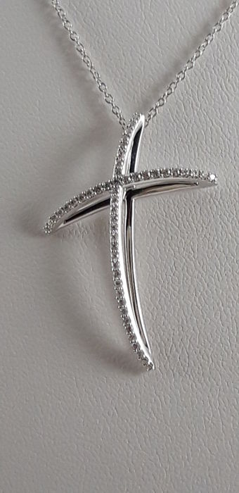 Alfieri&St.John - 18 kt. White gold - Necklace with pendant - 0.32 ct Diamond