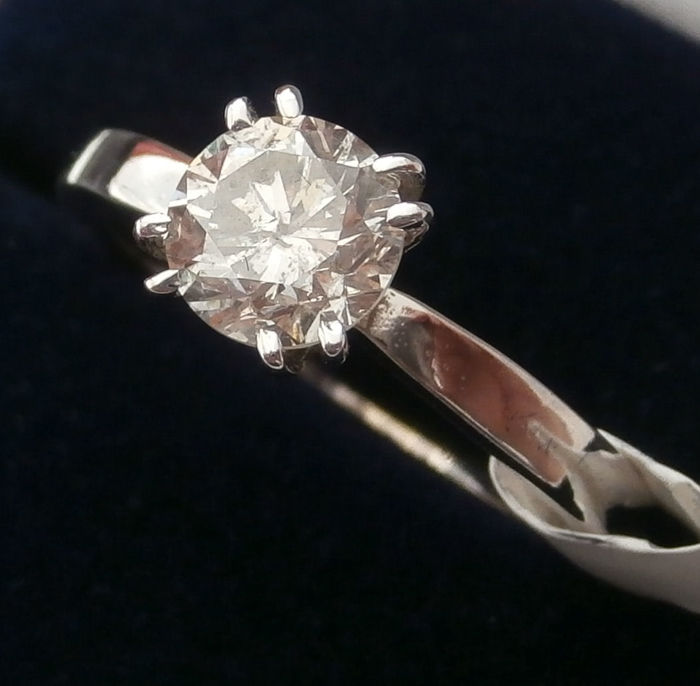 14 kt. White gold - Ring - Clarity enhanced 0.99 ct Diamond