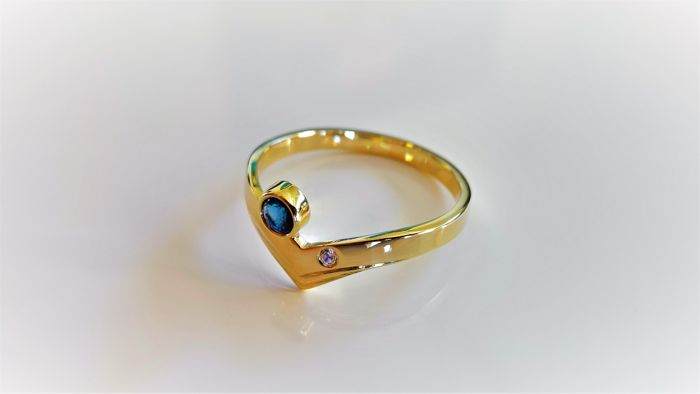 14 carats Or jaune - Bague Saphir - Diamant, Saphir