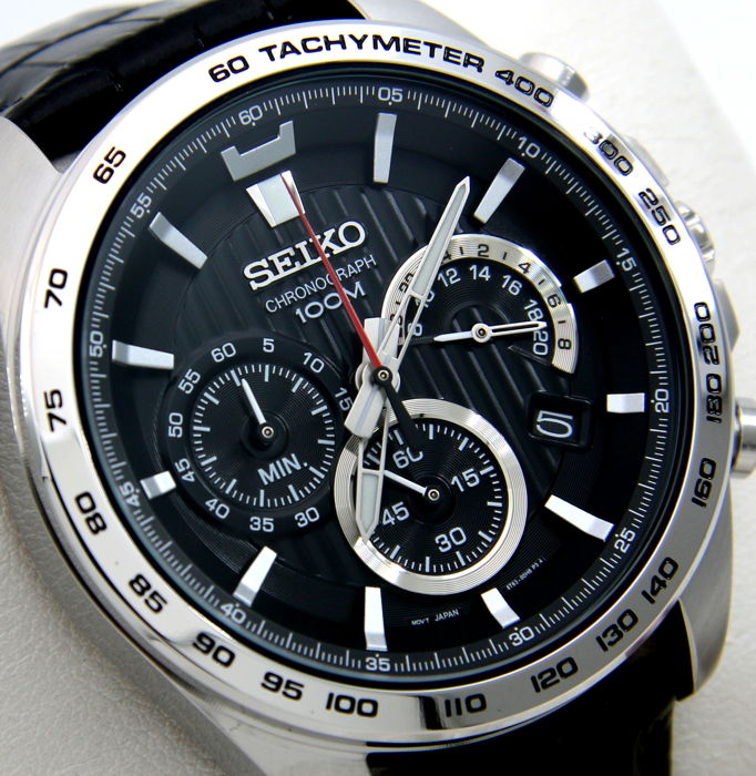 "Seiko - Chronograph Tachymeter 100M Leather  - ""NO RESERVE PRICE"" - Men - 2018"