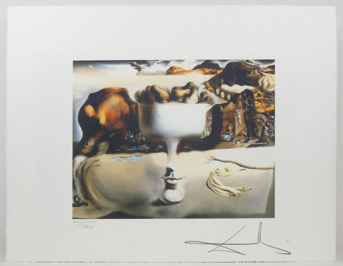 """Salvador Dali /""""Apparition of face and fruit/"""" Lithograph Limited 2000 pcs."""