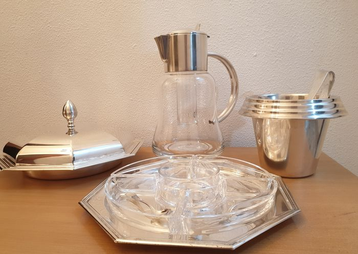 Pitcher, Salver, Tray (4) - Silver plated - Italy