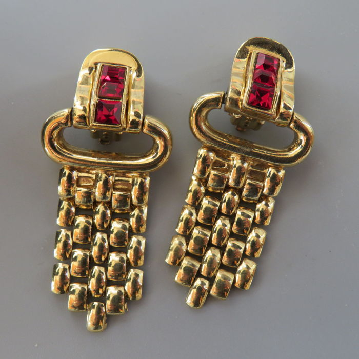 Givenchy - Gold plated, red crystals Oorbellen