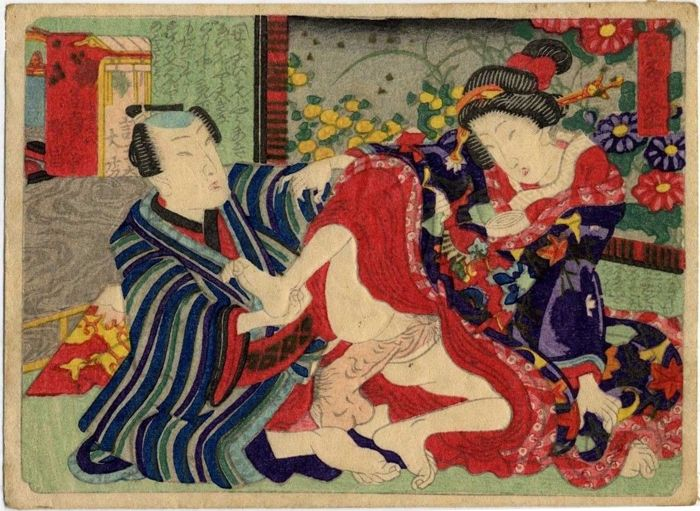 Original woodblock print, Shunga - Artist of the Utagawa school - 'Yamanai kane' 已ない金 ('Unnecessary wealth') - ca. 1860s