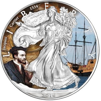 United States - 1 Dollar 2016 'Eagle - Jacques Cartier - Entdecker & Abenteurer' - 1 oz - Silver