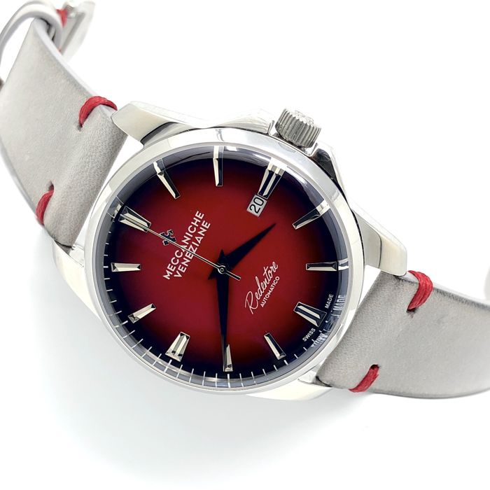 Meccaniche Veneziane - Automatic Limited Edition Forte Marghera Ruby Red EXTRA Steel Mesh Band - 1201013 - Heren - BRAND NEW