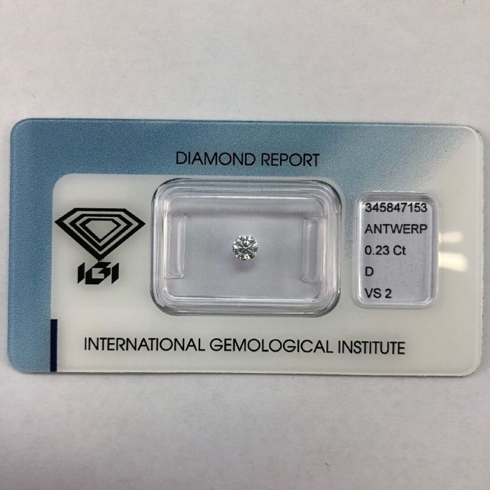 1 pcs Diamant - 0.23 ct - Briljant - D (kleurloos) - VS2