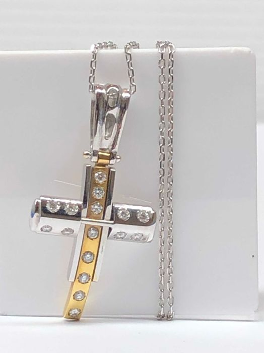18 kt. White gold, Yellow gold - Necklace with pendant - 0.48 ct Diamond