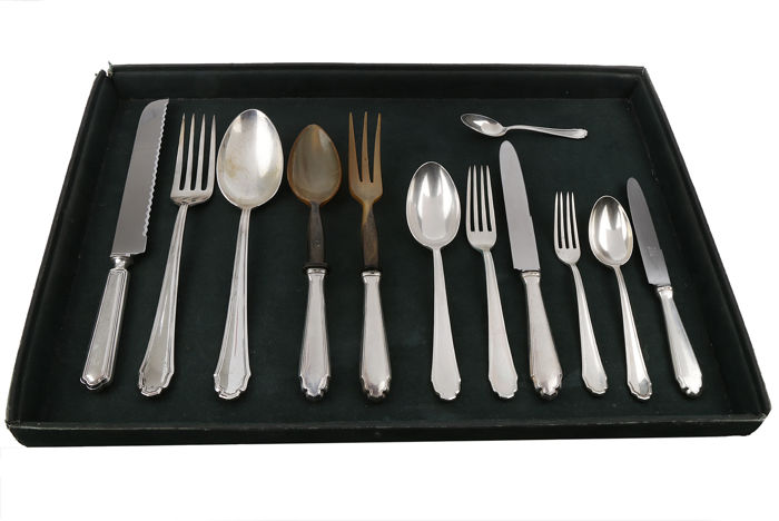 Cutlery set (83) - .800 silver - Italy - Early 20th century