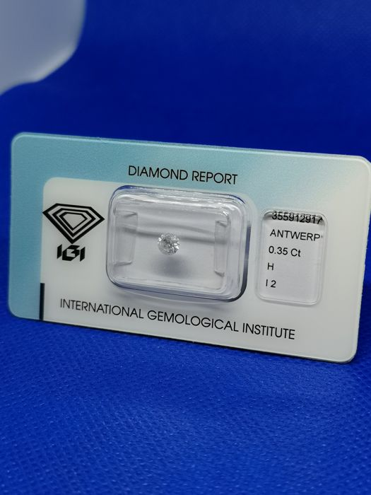 1 pcs Diamante - 0.35 ct - Brillante - H - I2