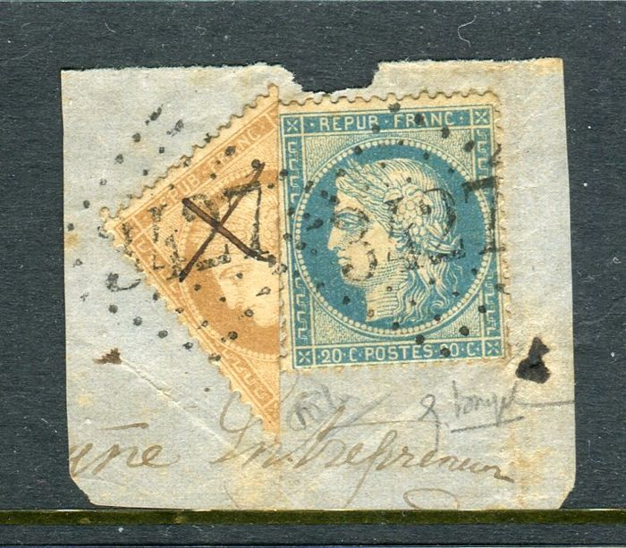 France - Rare postage from September 1871 with a No. 36 cut in half on piece of cover of Solre le Château - Signed Calves