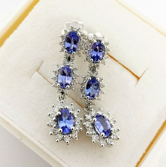 18 kt. White gold - Earrings - 1.77 ct Tanzanite - Diamonds