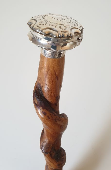 Walking stick, with pill box / peppermint box - 925, Silver - 19th century