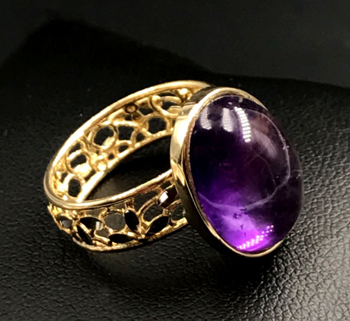 18 kt. White gold, Yellow gold - Ring - 8.60 ct Amethyst