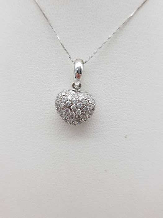 18 kt. White gold - Necklace, Necklace with pendant - 1.50 ct Diamond