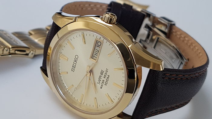 Seiko - Gold Plated solid bracelet sapphire glass + free Italian deployment  leather strap  - Herre - 2018